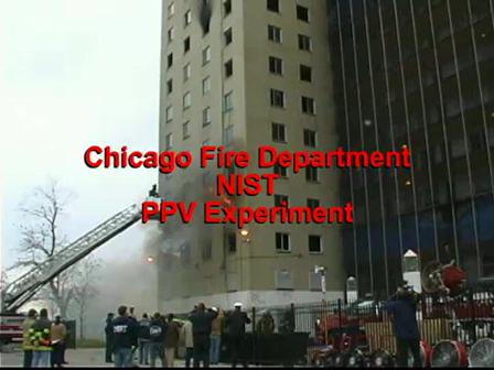 Departamento de Incendio de Chicago / Capacitacion / Prueba experimental de una Unidad de Ventilacion Positiva Movil en un incedio de Edificio