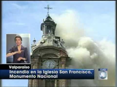 Incendio en histórica iglesia San Francisco de Valparaiso / Video Destacado de La Hermandad de Bomberos