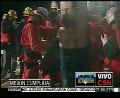 C5N LLEGADA DE LUIS URZUA -  EL 33º MINERO RESCATADO [www