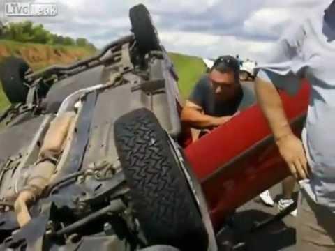conductor ebrio produce accidente en una carretera de brasil