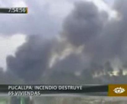INCENDIO DESTRUYE 65 VIVIENDAS EN CURIMANÁ - PERÚ