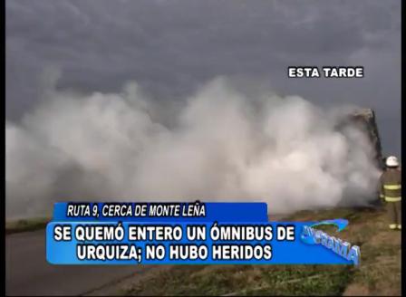 INCENDIO DE ÓMNIBUS, RUTA 9, BOMBEROS DE BELL VILLE - CÓRDOBA EN ARGENTINA