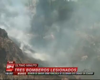 EQUIPO PERIODISTICO DEBE EVACUAR REPENTINAMENTE DURANTE INCENDIO FORESTAL DE VALPARAISO - CHILE