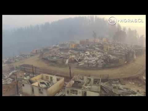 DRON CAPTA DEVASTACIÓN EN SANTA OLGA A CAUSA DE LOS INCENDIOS FORESTALES - CHILE