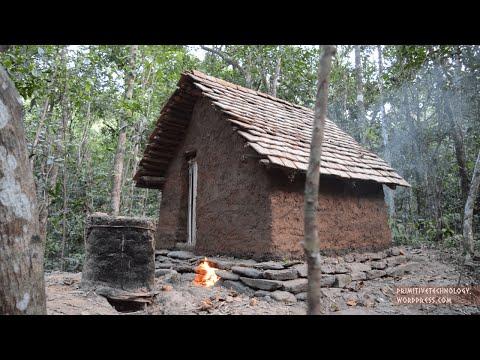 ...Tecnologia Primitiva... Construir Hacer Tejas de Ceramica para el Techo ...O... Primitive Technology: Tiled Roof Hut...