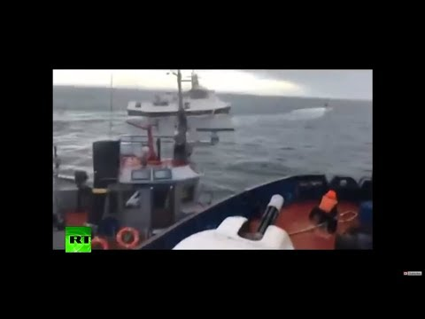MOMENT Russian Coast Guard ship chases & rams into Ukrainian vessel violating territorial waters