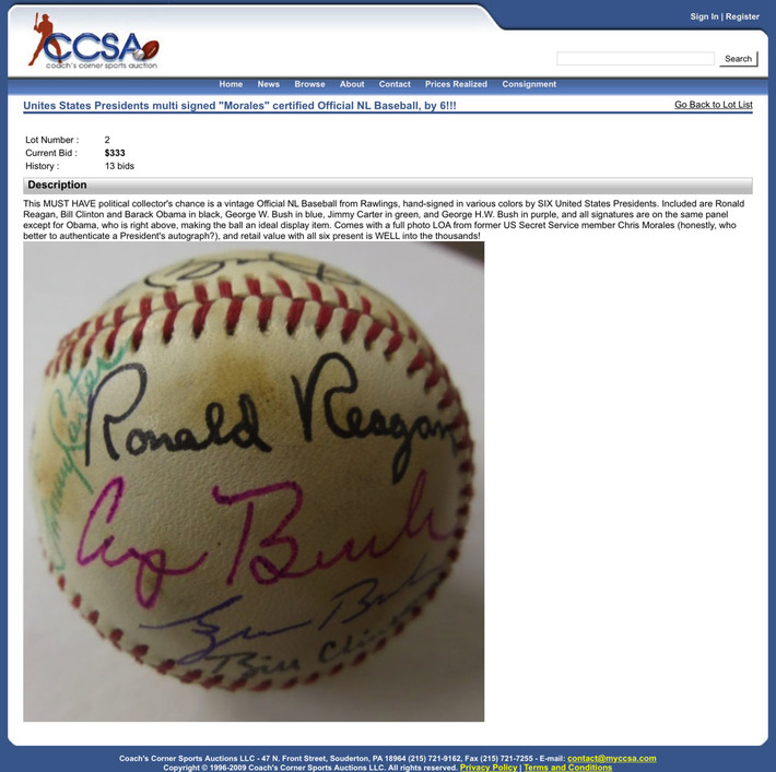 Presidential Signed Baseball Sold at Coach's Corner with Christopher Morales Authentication