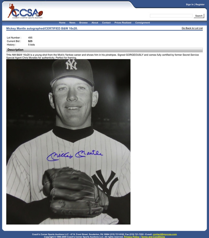 Mickey Mantle Sold at Coach's Corner with Christopher Morales Authentication