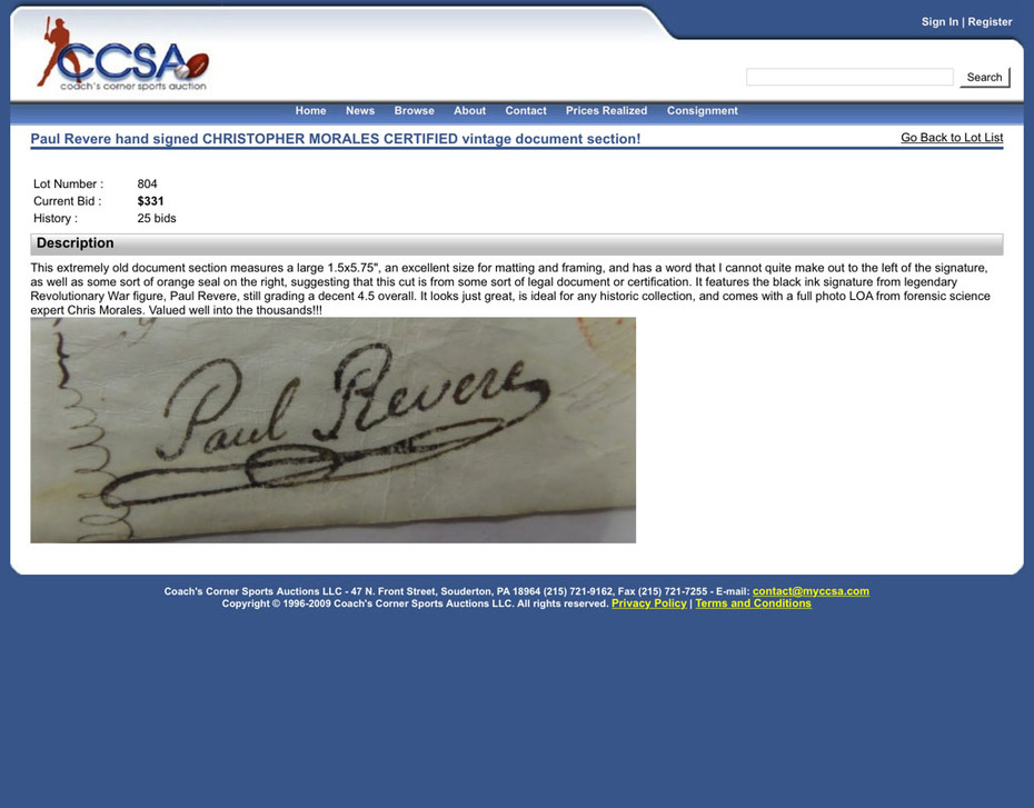 Paul Revere Sold at Coach's Corner with Christopher Morales Authentication