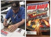#28-34, NHRA, Tom(Mongoose)McEwen, Signing, Drag Racer, Magazine, Sept. 2013, Volume 17, Number 5, Hot Wheels, Snake and Mongoose Sneak Movie Peek