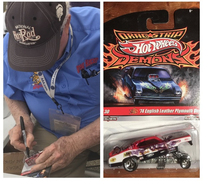 #14-18, NHRA, Tom(Mongoose)McEwen, Signing, Hot Wheels, Dragstrip Demons, 2009, English Leather, 1974, Plymouth Duster