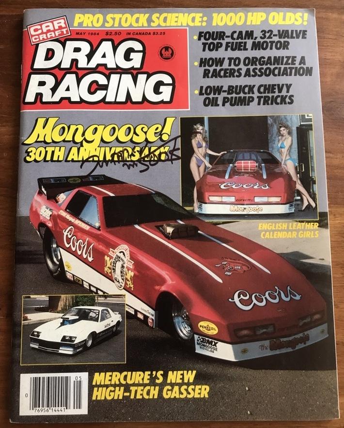 #28-36, NHRA, Tom(Mongoose)McEwen, Signing, Drag Racing, Magazine, May, 1984, Hot Wheels, Mongoose 30th Anniversary, Coors, Funny Car,