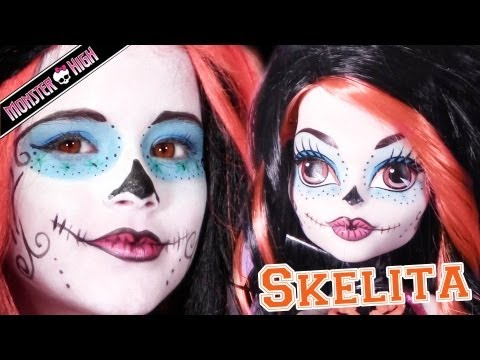 Skelita Calaveras Monster High Doll Costume Makeup Tutorial for Cosplay or Halloween