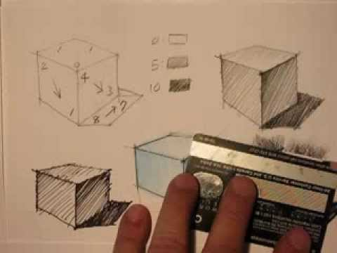 Mike Lin: How to draw a cube and render it with Pencil, Pen, Markers and Pastel