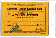 1936 Yankees Press Pass