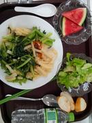 Cheese potato pasta + salad + water melon