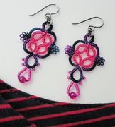 Tatted earrings hot pink and dark