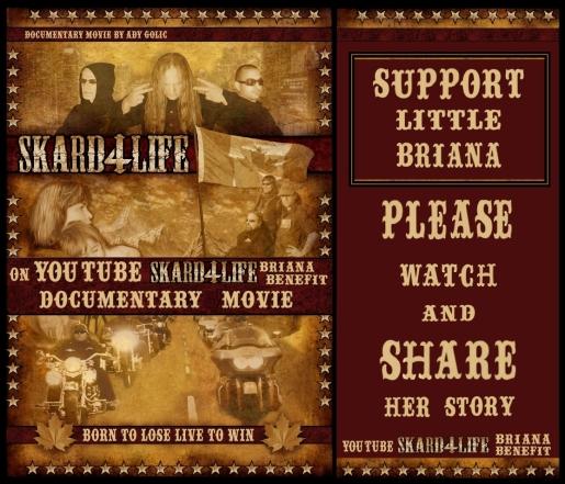 Support Briana ~ SKARD 4 LIFE MOVIE POSTER  - SKARD rock band - True Biker Rock