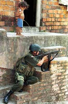 Child piss on_soldier!