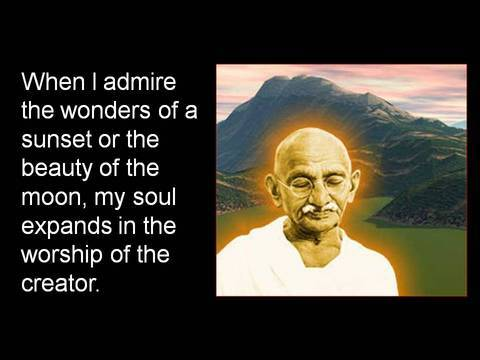 Gandhi in sunset and moon