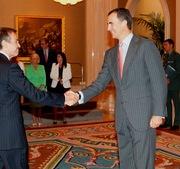Audiencia Real con Principe de Asturias con los miembros de la junta directiva de FORETICA (Septiembre, 2011). En la foto, Fernando Navarro saludando al Principe.