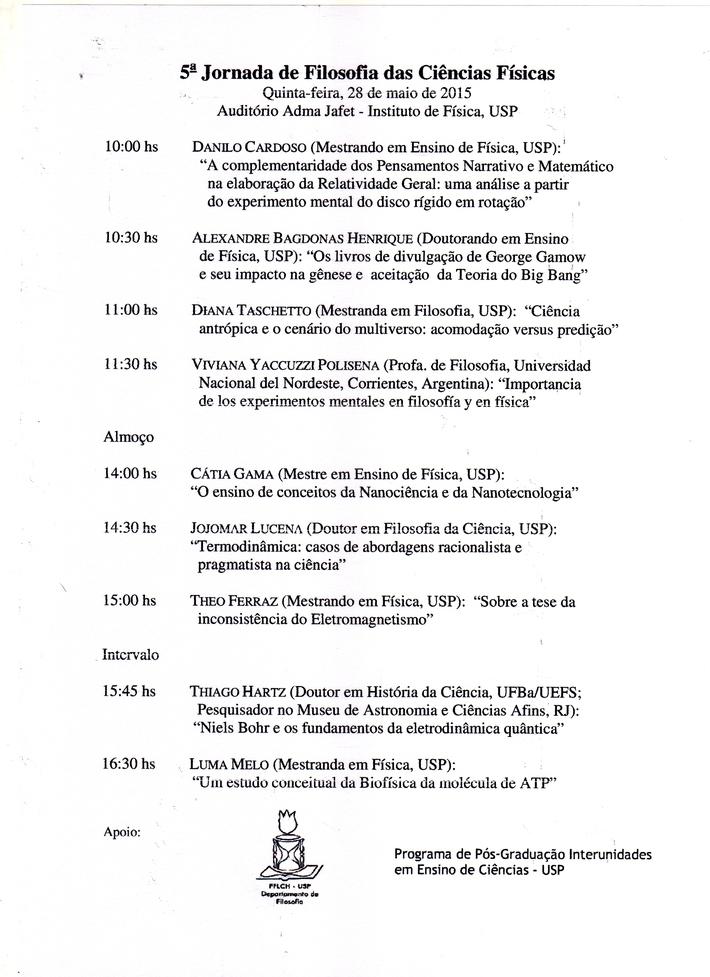 Programa V Jornada Filosofìa de las Ciencias Fìsicas