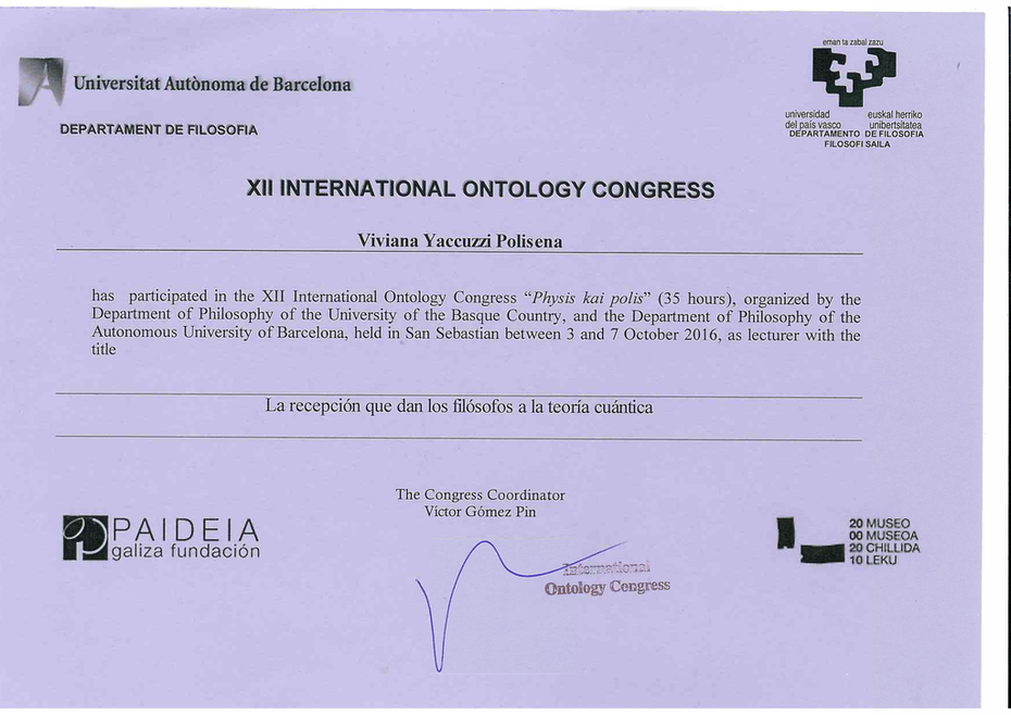 XII INTERNATIONAL ONTOLOGY CONGRESS. PHYSIS KAI POLIS. 2016