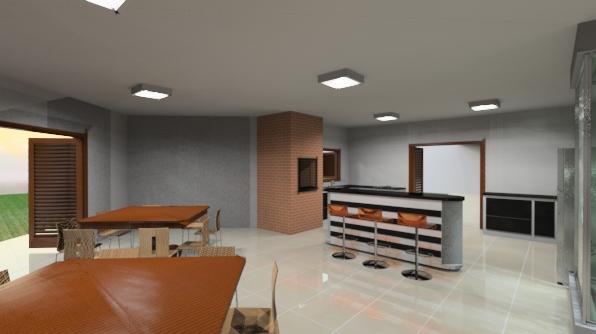 Vista sala de jantar para cozinha e ilha móvel