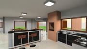 Vista cozinha para sala de jantar e ilha móvel