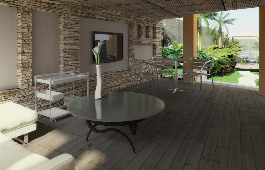 Proyecto arquitectura paisajista en Caracas, terraza cubierta