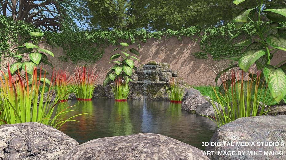 pond scene - 3d digital media studio 9