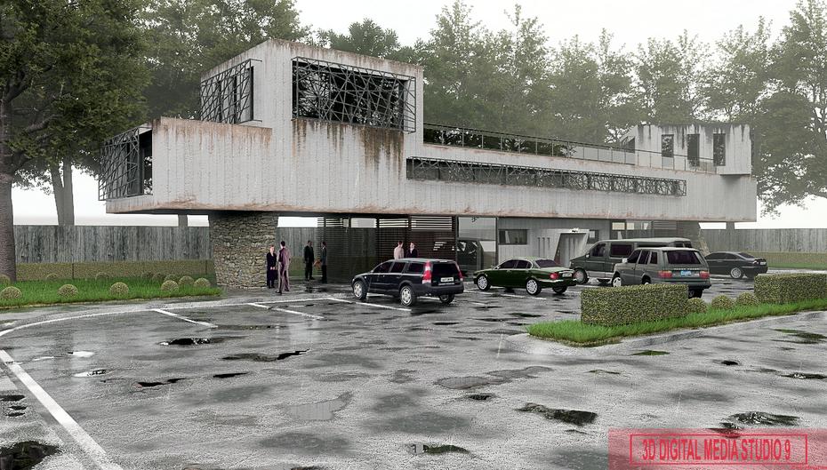 re-rendered building