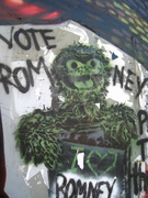 Oscar the Grouch says Vote Romney in Silver Lake Los Angeles