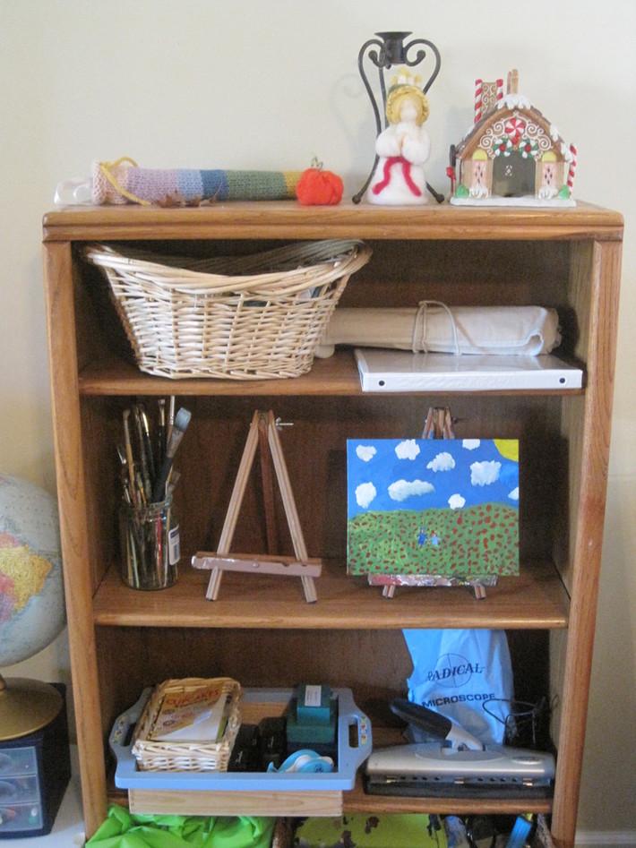 Waldorf homeschool shelves