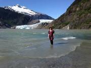Glacier lake swim