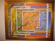 running wiht gazelles painting