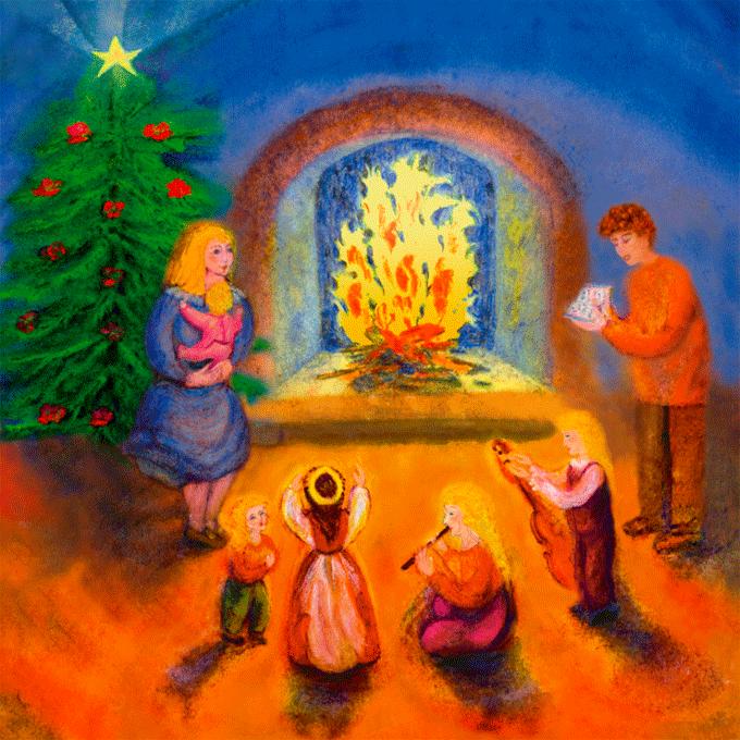 Famille célébrant Noël en chantant
