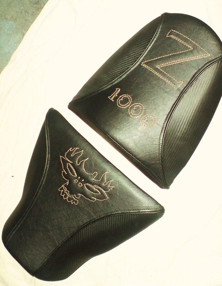 Dragon Skull Z1000. Carbon leather, gold stitch and black merecedes vinyl