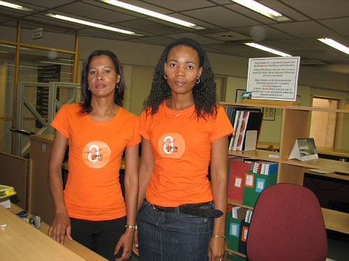 Connie and Mabel in their Open Access T-shirts