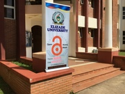 Promotional material_Rollup banner in front of the Academic Complex