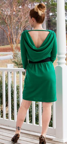 green wool jersey cocktail dress