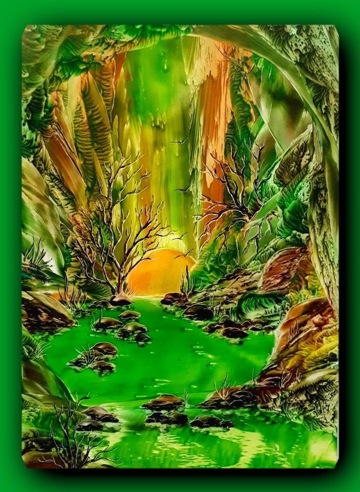 """""""""""Emerald idyll"""" A3 (wax, cardboard,iron)."""