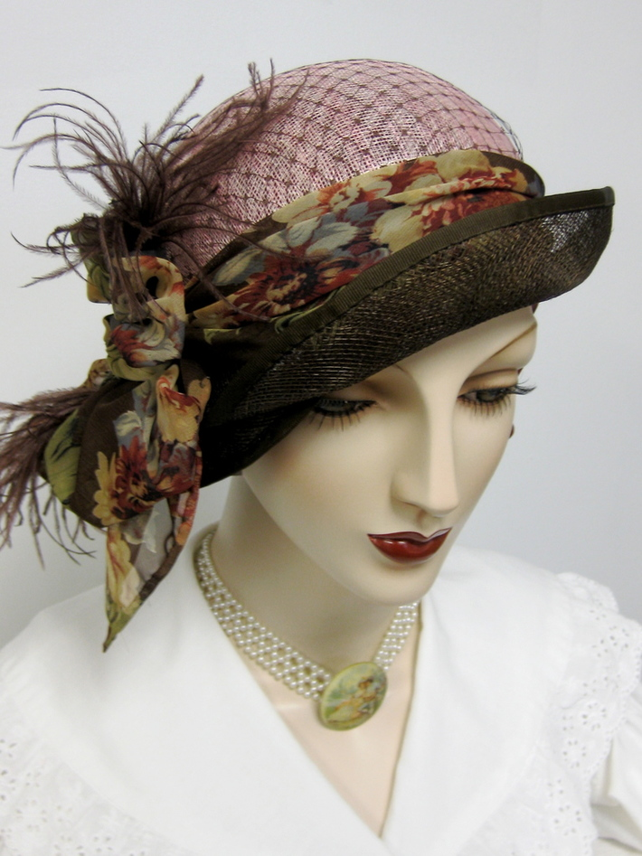 Pink and Brown Sinamay Cloche with Floral Scarf