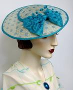 Turquoise Polka Dot Dish Hat