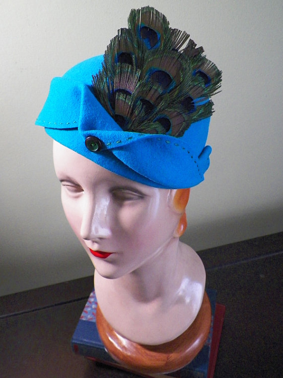 Hand-blocked Aqua Wool Hat with Peacock Feathers