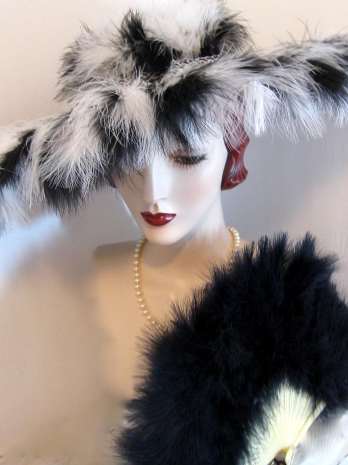 Feather Fringed Cartwheel Hat
