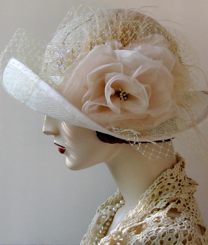 Sinamay Wedding Cloche with Handmade Silk Organza Rose