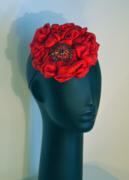 Red Silk Fascinator by Anastasia Frei