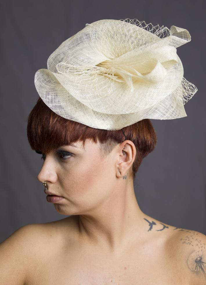 Ivory sinamay Bridal Head piece