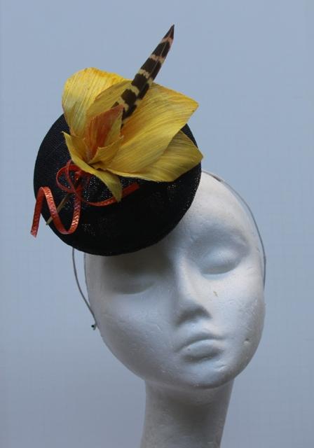 Blue Hat Fascinator Yellow Orchid Headpiece Hand Blocked Luxury Millinery Women Bridal Wedding